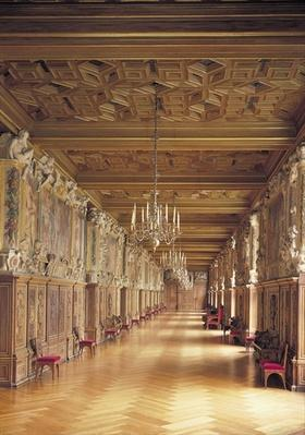View down the length of the Gallery of Francis I, 1530-40