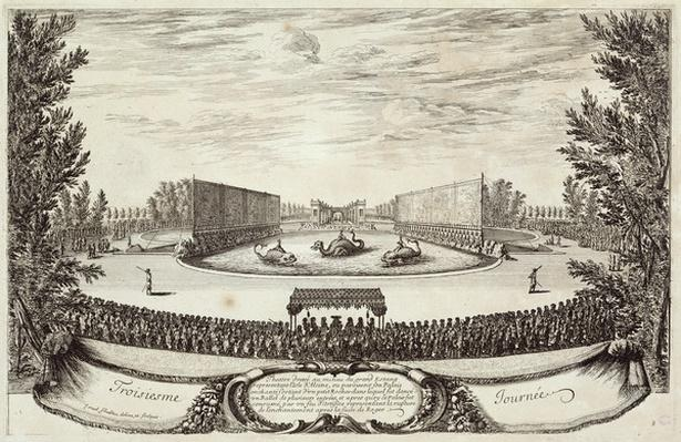 Stage on the Large Pond representing the Isle of Alcine, third day of 'Les Plaisirs de l'Ile Enchantee', 9th May 1664