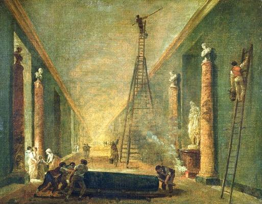 View of the Grand Gallery of the Louvre During Restoration, 1798-99