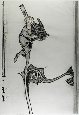 Ms Fr 95 fol.273 Musician Playing a Portative Organ, from 'l'Histoire de Merlin', c.1280-90
