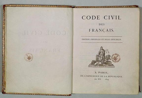 Code Civil, open at the titlepage, 1804
