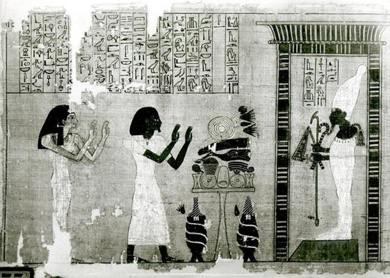 The deceased accompanied by his sister go to pay homage to Osiris, detail from the Book of the Dead, New Kingdom