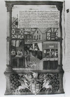 Ms 5062 fol.149v A street with shops and the coat of arms of Robert Stuart, Marechal d'Aubigny Lucrece, from 'Livre de Gouvernement des Princes' by Gilles de Rome