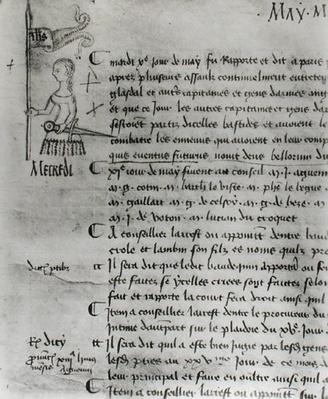 Page from 'The Register of the Council of the Parliament of Paris' depicting Joan of Arc