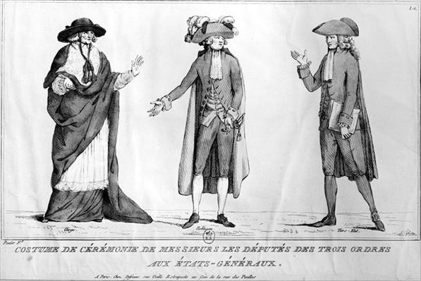 Ceremonial Costumes of the Deputies of the Trois Ordres aux Etats-Generaux, 4th May 1789