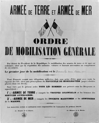 Order of general mobilisation, 1914