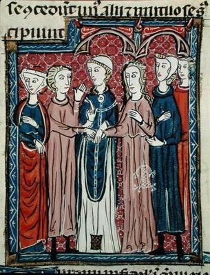 Ms 372 fol.153 A Marriage, from 'Decrets de Gratien'