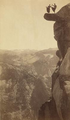 Dancing Ladies on Overhanging Rock at Glacier Point, Yosemite, 1890s | Ken Burns: The National Parks