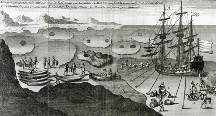 The Ship Making Alliance with the Eskimos, from 'Histoire de l'Amerique Septentrionale' by Bacqueville de La Potherie