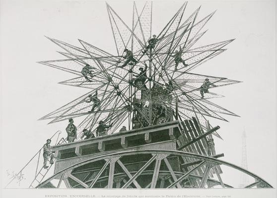 Universal Exposition of 1900: Installation of the Star on Top of the Palace of Electricity