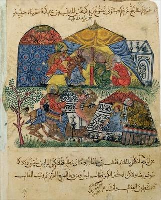 Ms C-23 fol.43b An old man and a young man in front of the tents of the rich pilgrims, from 'The Maqamat'