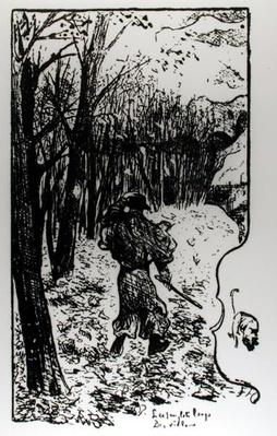 Verlaine in an Autumn Landscape, illustration from 'Impression d'Automne: Les Sanglots Longs' by Paul Verlaine