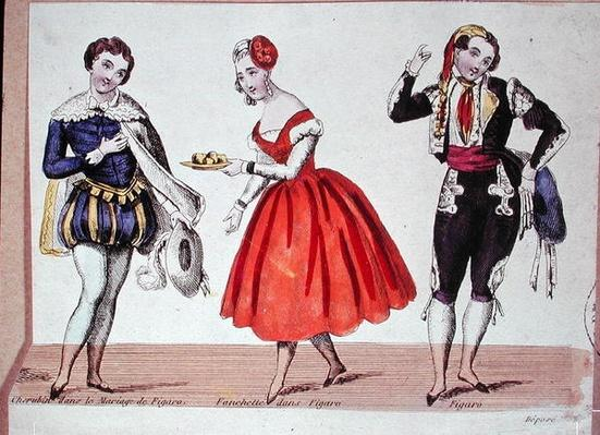 Cherubino, Fanchette and Figaro, scene from 'The Marriage of Figaro' by Pierre Augustin Caron de Beaumarchais