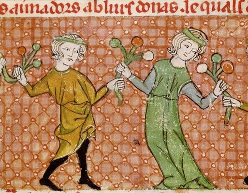 Fol.215v The Temptation: A Dancing Couple