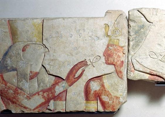 The Meeting of the Pharaoh and Horus, detail from a frieze depicting Ramesses II