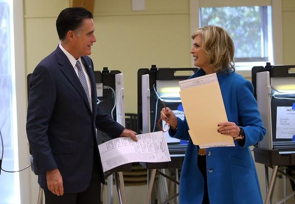 Mitt And Ann Romney Vote On Election Day In Massachusetts | U.S. Presidential Elections 2012