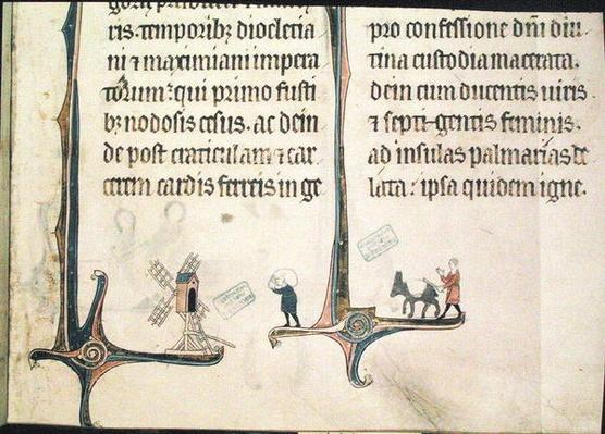 Ms 838 fol.55 A Man Driving his Donkey Carrying Bags of Wheat to a Windmill, from 'Obituaire de Notre Dame de Pres', after 1270