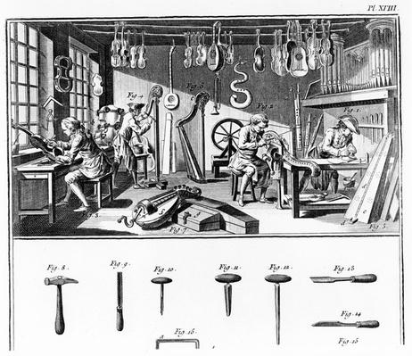 The Instrument Maker's Workshop, plate XVIII from the 'Encyclopedia' by Denis Diderot