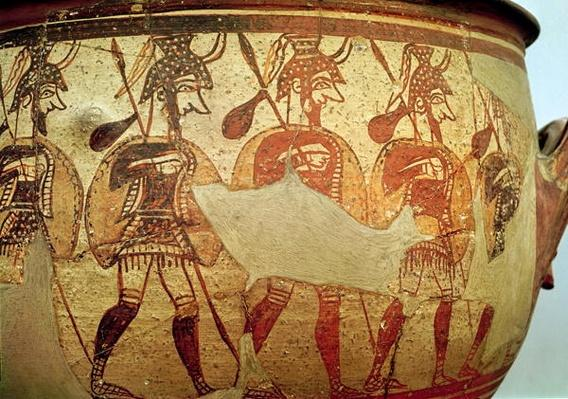 Detail of a red figure krater depicting warriors, Rhodes, 13th-12th century BC
