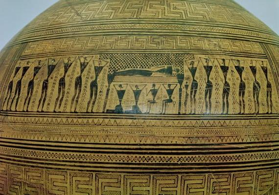The Dipylon Amphora, funerary urn in the geometric style from the Kerameikos Necropolis, detail of the funeral scene, Athens, c.750 BC