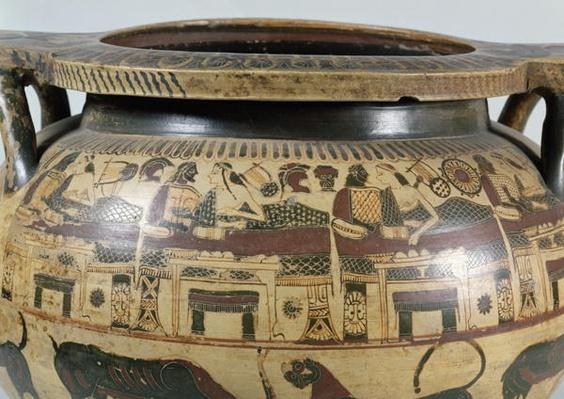 Detail of a Corinthian krater with a banquet scene, c.590-575 BC