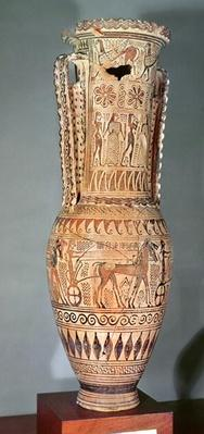 Loutrophoros depicting a sphinx, various figures and a parade of chariots, Proto-Attic, c.690 BC