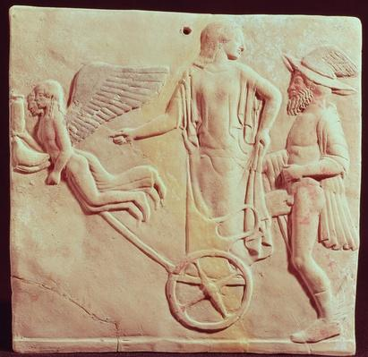Aphrodite and Hermes riding on a chariot pulled by Eros and Psyche, 470 BC