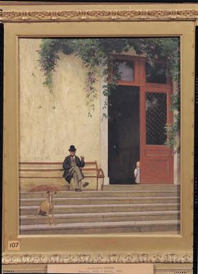 The Artist's Father and Son on the Doorstep of his House, c.1866-67