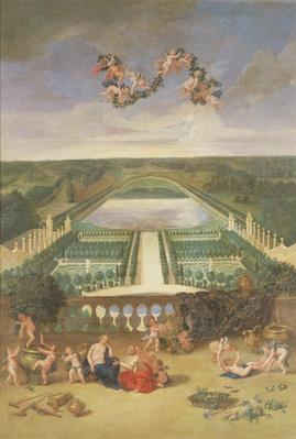 View of the Orangerie at Versailles, from the Piece d'Eau des Suisses and the King's Vegetable Garden with Vertumnus and Pomona, 1688