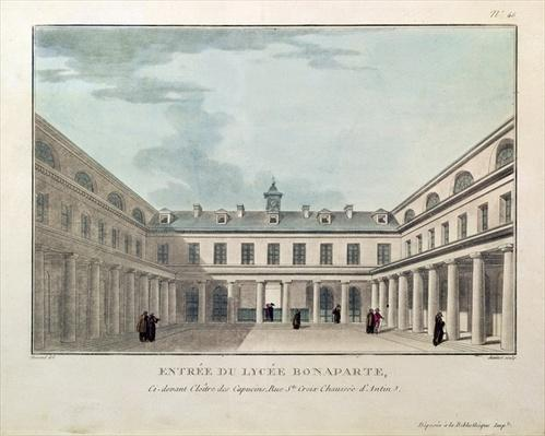 Entrance to the Lycee Condorcet, engraved by Janinet