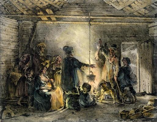 Interior of a Coal-Miner's Hut, engraved by Godefroy Engelmann