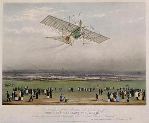 The Flying Machine, the 'Ariel', from designs prepared by W.S. Henson in 1842, published by Ackermann & Co., 1843