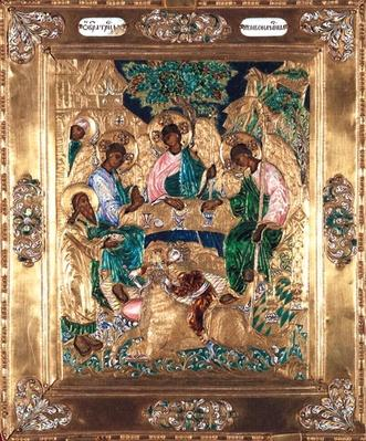 Icon depicting Abraham and the Three Angels, Moscow School