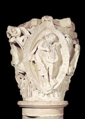 Capital depicting the Third Key of Plainsong with a lute player, c.1095