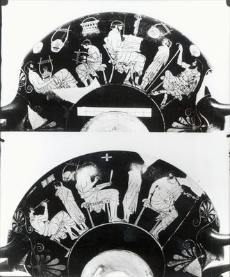 Two views of an attic red-figure cup depicting a school scene