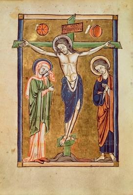 Ms. 1273 fol.14v The Crucifixion, illustration from a psalter