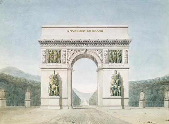 Design for the Arc de Triomphe with a wooded background