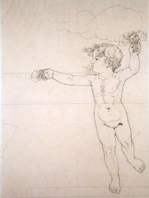 Right hand side Genie with a Rose, study for 'Morning', 1809