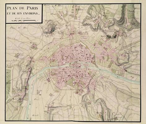 Map of Paris and its Surroundings, from 'Oisivetes'