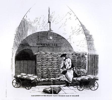 Stacking Bags of Dollars in a Compartment in the Bullion Vault, from 'Illustrated London News' published in 8th March 1845