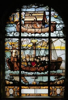 Window depicting a ship with saints and Noah's Ark, 1612-22