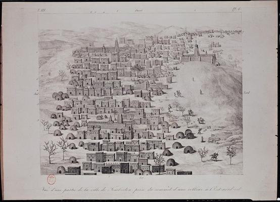 View of part of the town of Timbuktu from a hill, illustration from 'Journal d'un Voyage a Tombouctou et a Jenne', 1830