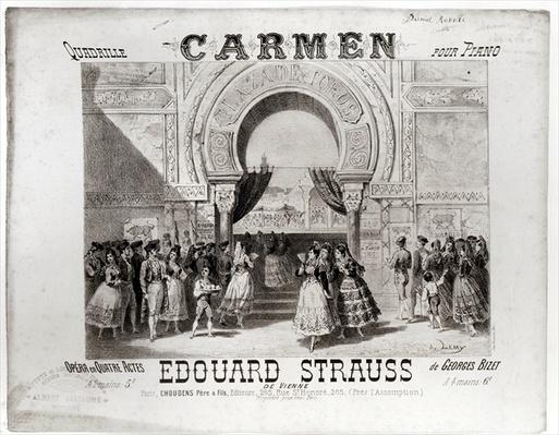 Cover of the score of piano quadrille from 'Carmen' by Edouard Strauss