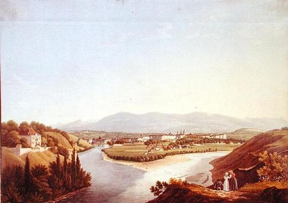 View of Geneva from the Confluence of the Rhone and the Arve, engraved by Friedrich Salathe