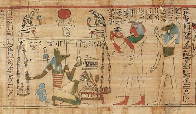 Detail from the Book of the Dead of the priest Aha-Mer depicting Anubis weighing the heart of the deceased against the Feather of Truth