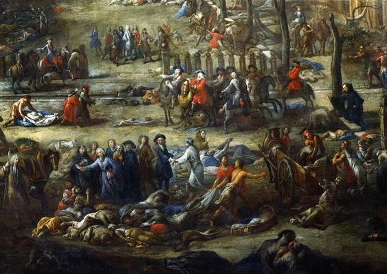 View of the Cours Belsunce, Marseilles, During the Plague of 1720, detail depicting the Cardinal of Belsunce with a group of corpses of plague victims, 1721