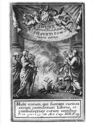 Frontispiece of 'Index Librorum Prohibitorum' depicting an auto da fe, 1786