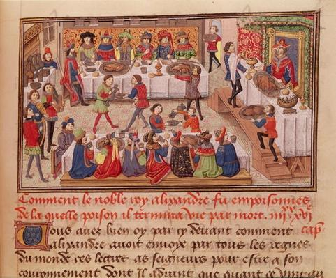 Fol.298r How the Noble King Alexander was Poisoned, illustration from a book by Jean Wauquelin, from the ' Histoire du Grand Alexandre' 1460