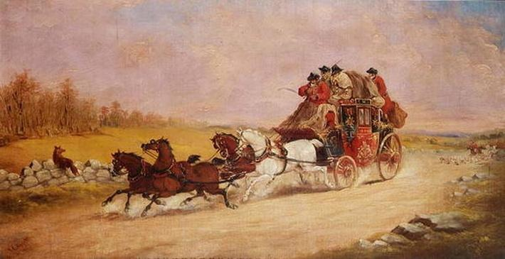 The Royal Mail Coach between the Fox and the Hunt, 1881