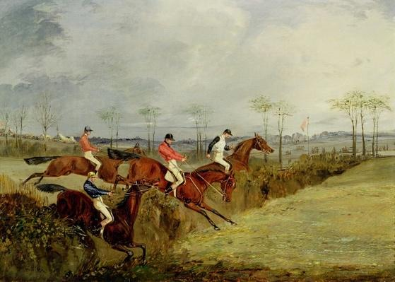 A Steeplechase, Taking a Hedge and Ditch